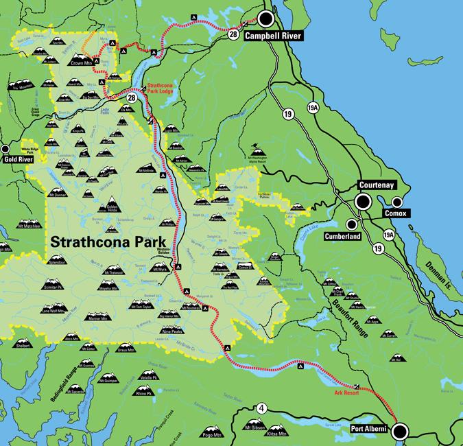 Strathcona Park Map Route, Strathcona Centennial Expedition 1910 2010